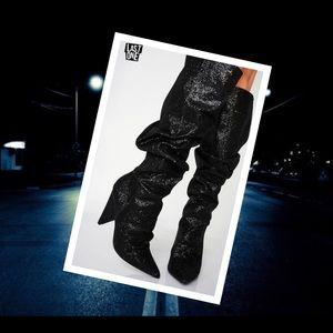 Women Black Glitter Mid-Calf Scrunch Boots US 7.5